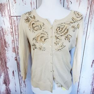 Anthro Tabitha beige embroidered light cardigan